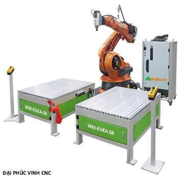 ROBOT KUKA 6 TRỤC 2 BÀN LÀM VIỆC KÉP ( ứng dụng trong chế biến gỗ )